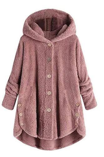 Fashion Irregular Button Pure Colour Plush Coat