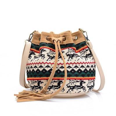 Christmas Moose Bucket Small Satchel Crossbody Bags