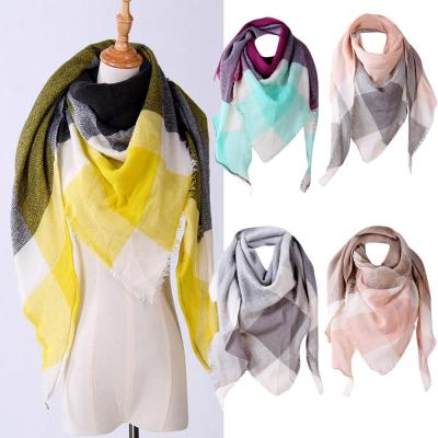 Winter Triangle Scarf For Women Shawl Autumn Plaid Wool Scarves