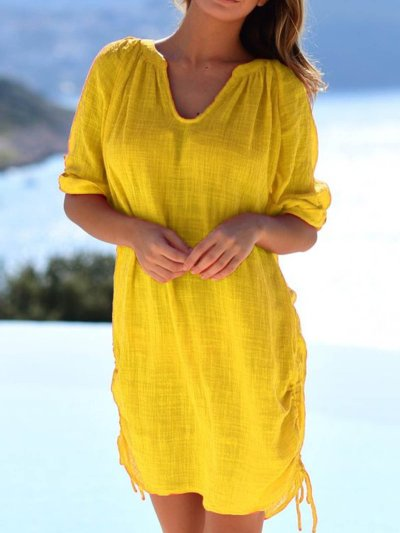 Orange Half Sleeve Cotton-Blend Dresses