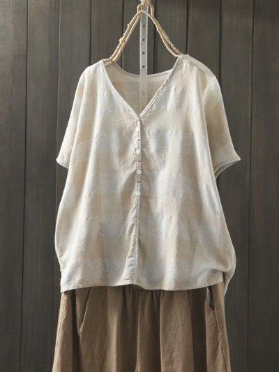 Plaid Print Button Short Sleeve Blouse For Women