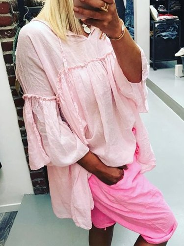 Women Casual Loose Ruffle Tops Tunic Dresses