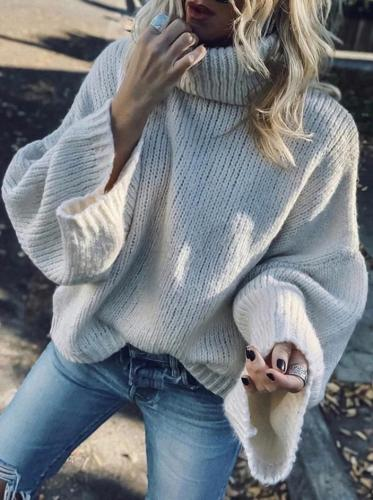 Modern High Collar Pure Colour Sweater