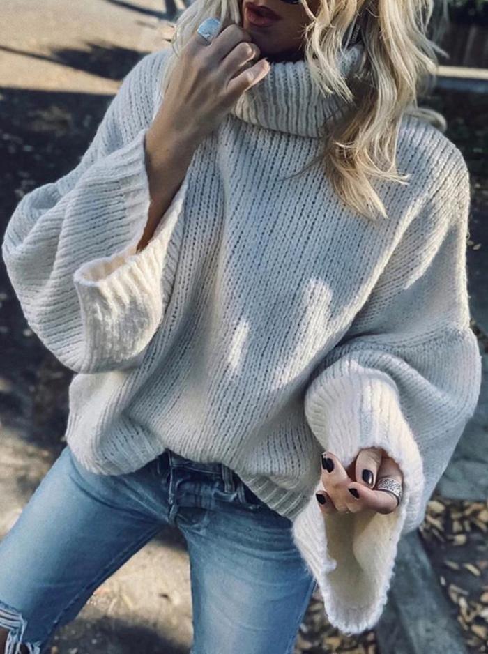 Modern High Collar Pure Colour Sweater