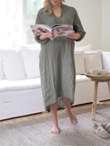 Casual Plain V-Neck Long Sleeve Plus Size Dress