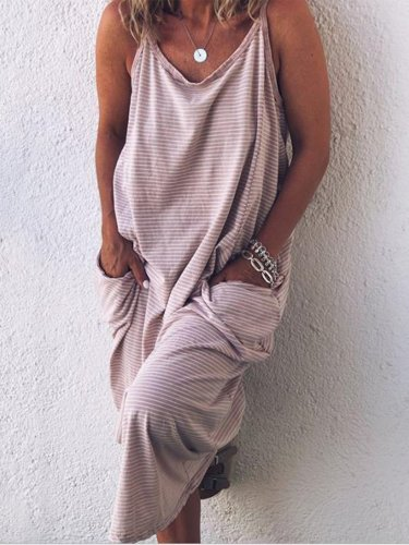 Round Neck Sleeveless Striped Pockets Maxi Dresses
