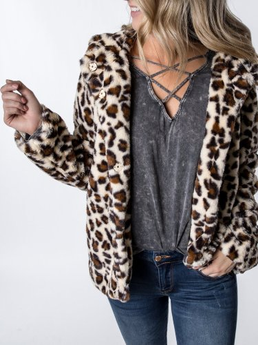 Leopard Cotton Hoodie Paneled Casual Coat