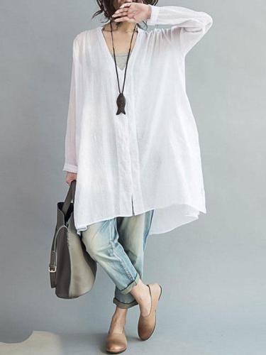 Plus Size Solid Color Casual Blouse
