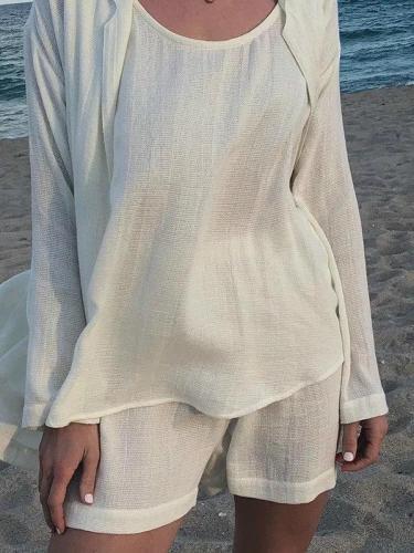 Beige Cotton Casual Crew Neck Suits