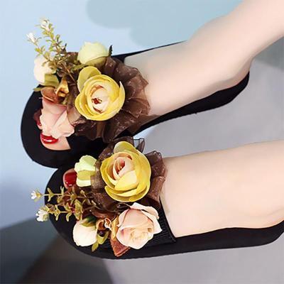 Holiday Flower Wedge Heel Slippers