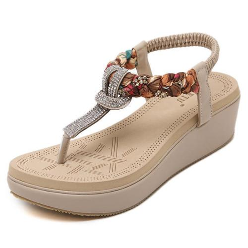 Casual Elastic Band Wedge Heel PU Sandals