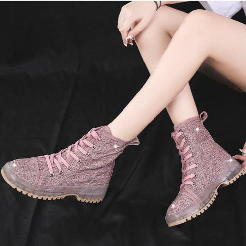 Euramerican Breathable Lace-Up Pure Color Ankle Boots