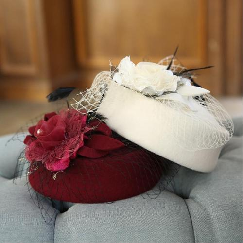 Noble Wool Fedoras Hat for Women Hat Fashion Bow-Knot Cap Vintage Elegant Female Cap