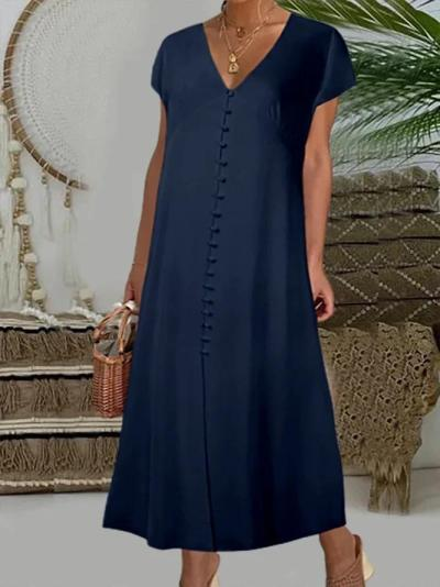 Solid Color V-neck Button Up Maxi Dress