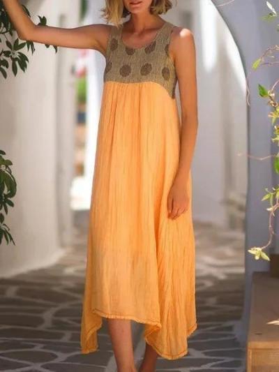 Bohemian casual large size cotton dress