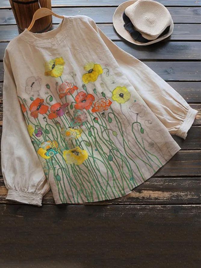 Khaki Cotton-Blend Pastoral Shirts & Tops