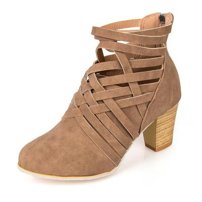 Weave Zipper Casual Chunky Heel Suede Boots
