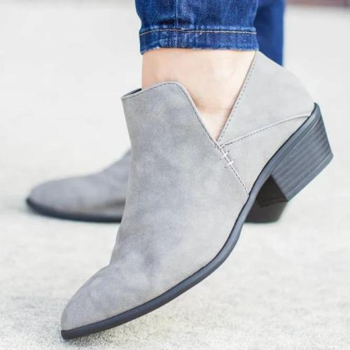Block Heel Solid Boots