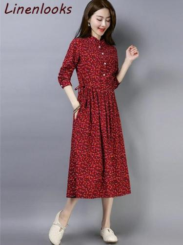 Plus Size Slim Cotton Linen Casual Floral Printed Dresses