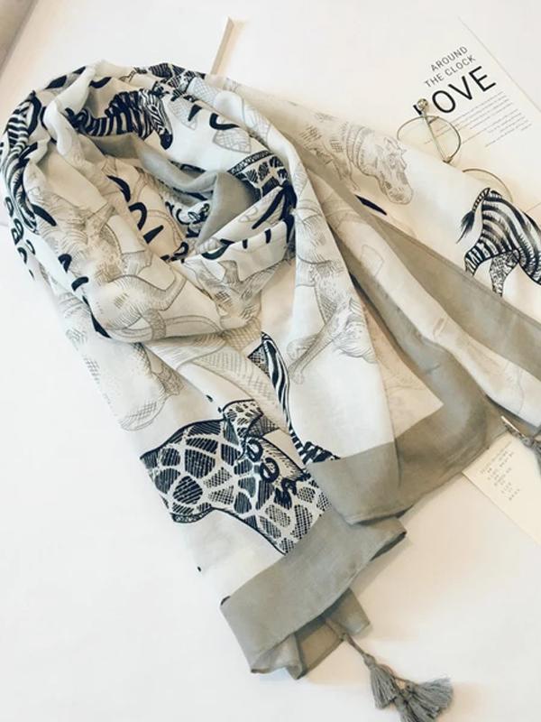 Cotton Linen Silk Animal Print Zebra Thin Head Scarf Shawl