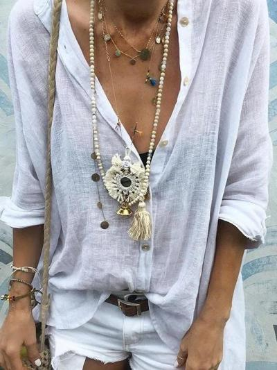 White Shift Shirt Collar Plain Casual Shirts & Tops