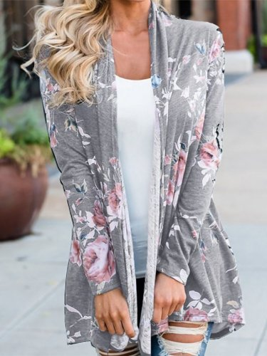 Cotton Floral Casual Printed/Dyed Cardigan
