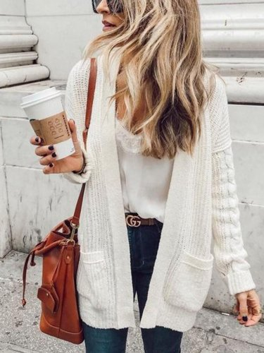 Casual Sweet Fashion Loose Plain Long Sleeve Cardigan