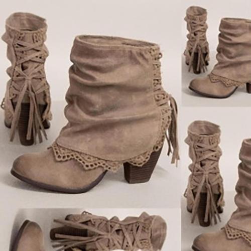 Women PU Booties Casual Comfort Vintage Shoes