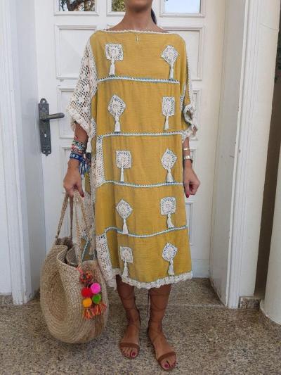Tassel Half Sleeve Cotton-Blend Casual Dresses