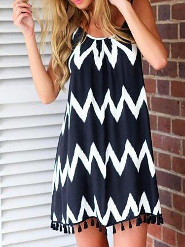 Women Chiffon Dress Halter Sleeveless Paneled Casual Dress