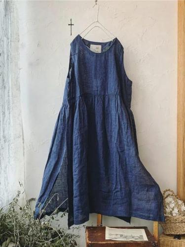 Navy Blue Casual Plain Linen Crew Neck Dresses