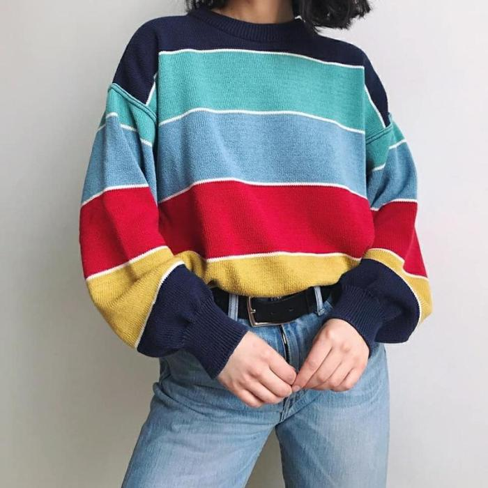 Casual Round Neck Colouring Sweater