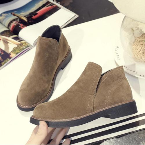 Suede Women Slip-On Ankle Boots