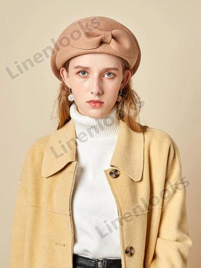 Autumn Winter Woolen Beret Elegant Bow Felt Hat