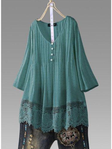 Women Casual Loose Lace Cutout Tops Tunic Blouse Shirt