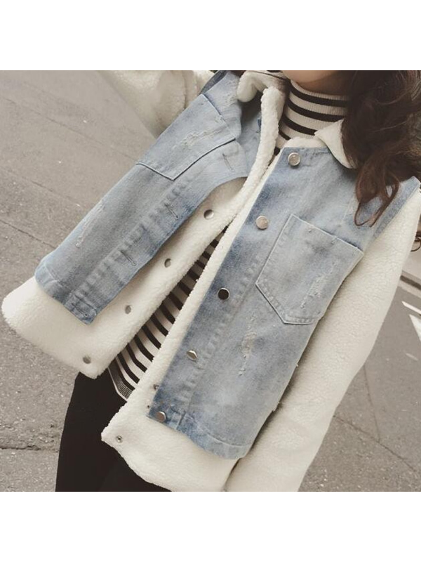Two Piece Cotton-Blend Plus Jeans Jacket Casual Coat