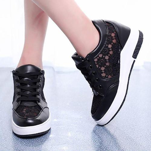 Women PU Lace Sneakers Casual Comfort Lace Up Shoes