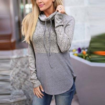 Hoodies Patchwok Turtleneck Hooded Tops Women Long Sleeve Hoody Sweatshirt Female Autumn Winter Pullovers Streetwear