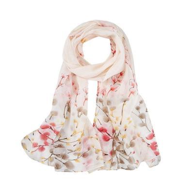 Soft Chiffon Scarf Women Thin Silk Flower Printed Scarves