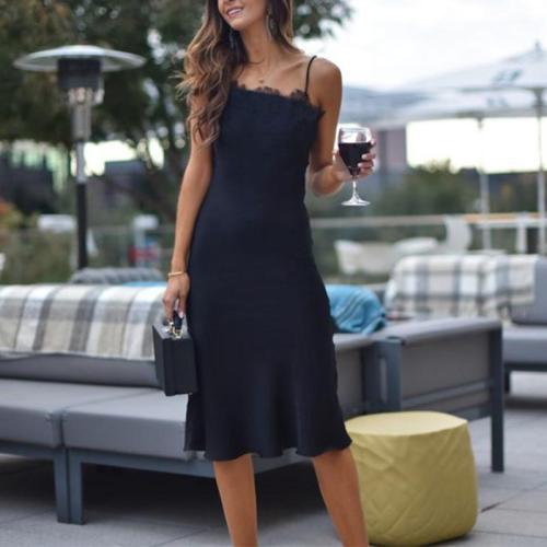 Elegant Lace Splicing Sling Pure Colour Bodycon Dresses