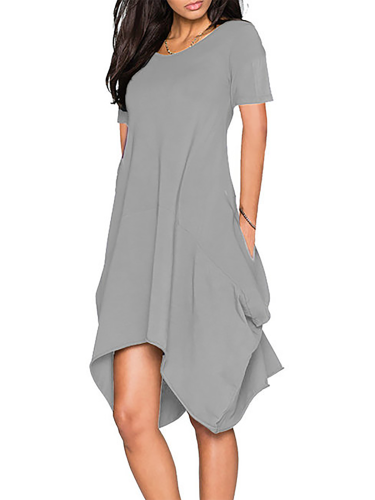 Solid Casual Cotton-blend Dresses
