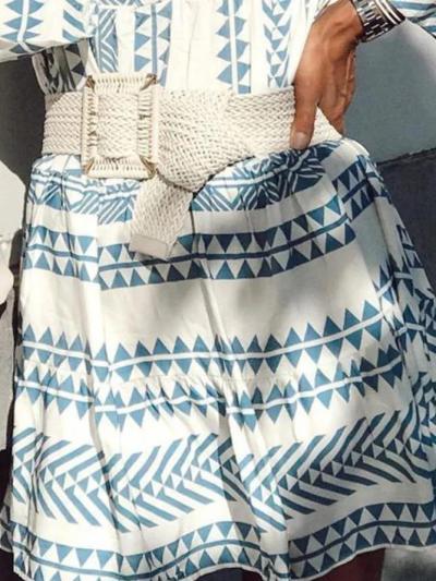 Blue Long Sleeve Printed V Neck Dresses