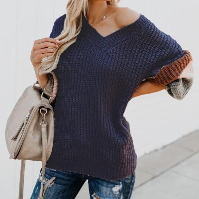 Autumn and Winter Women's V-neck Sweater Sweater Plus Size Sweater Sweater Women Sueter Mujer Girls Sweaters Patchwork