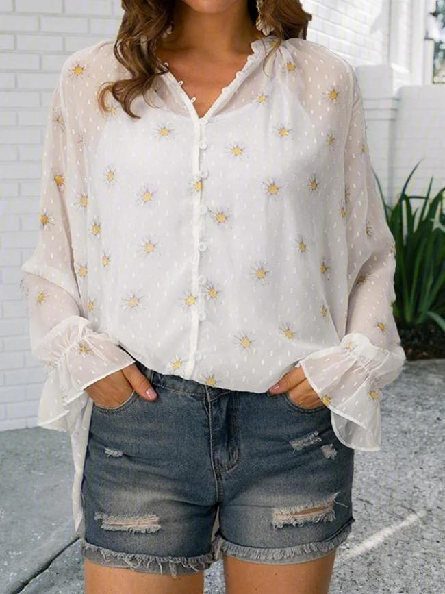 Printed Casual Floral V Neck Shirts & Tops