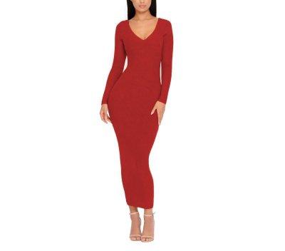 Fashion Sexy Lace V Neck Knit Sweater Maxi Dresses