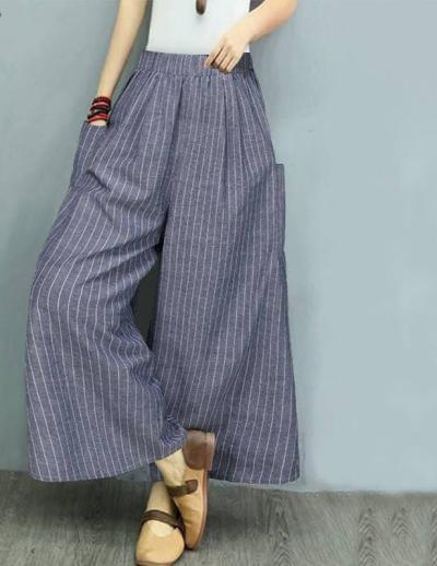 Casual Pockets Wide Leg Pants 2020 Vintage Stripe Printed Long Trousers Elastic Waist Pants