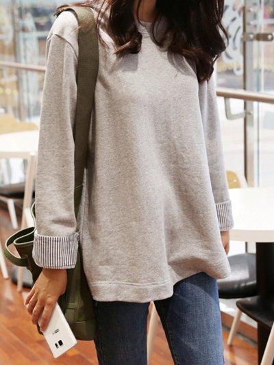 Light Gray Casual Paneled Blouses & Shirt