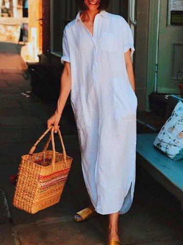Plus Size short sleeve  V-neck  Elegant Casual  Midi  Dress