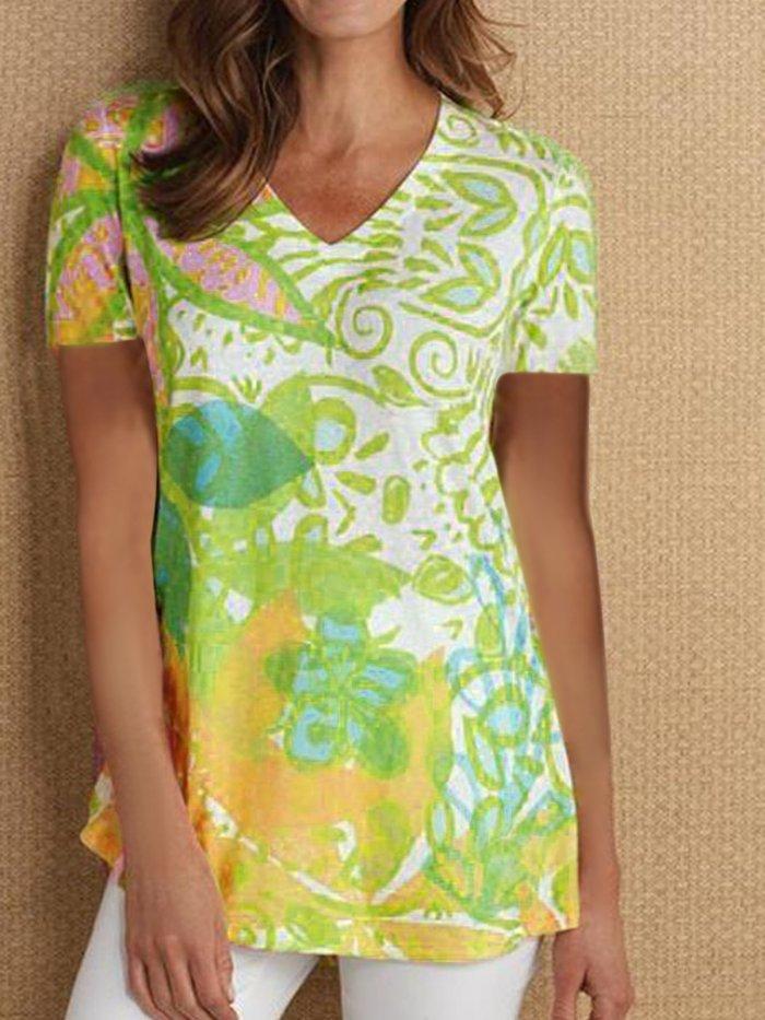 V Neck Short Sleeve Vintage Printed Shirts & Tops