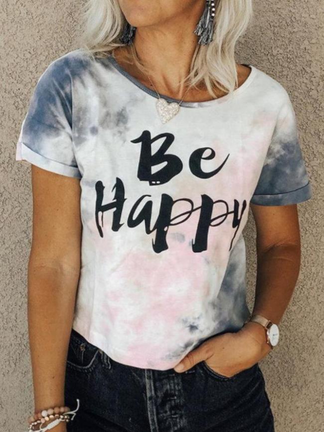 White Floral-Print Crew Neck Short Sleeve Cotton-Blend Shirts & Tops
